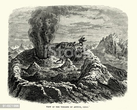 Vintage engraving of Men fleeing the erutping Antuco Volcano, Chile, 19th Century
