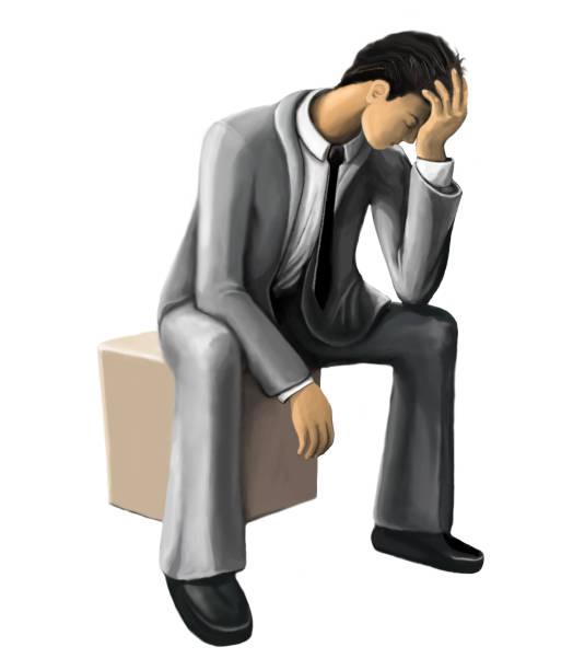 men in despair vector art illustration