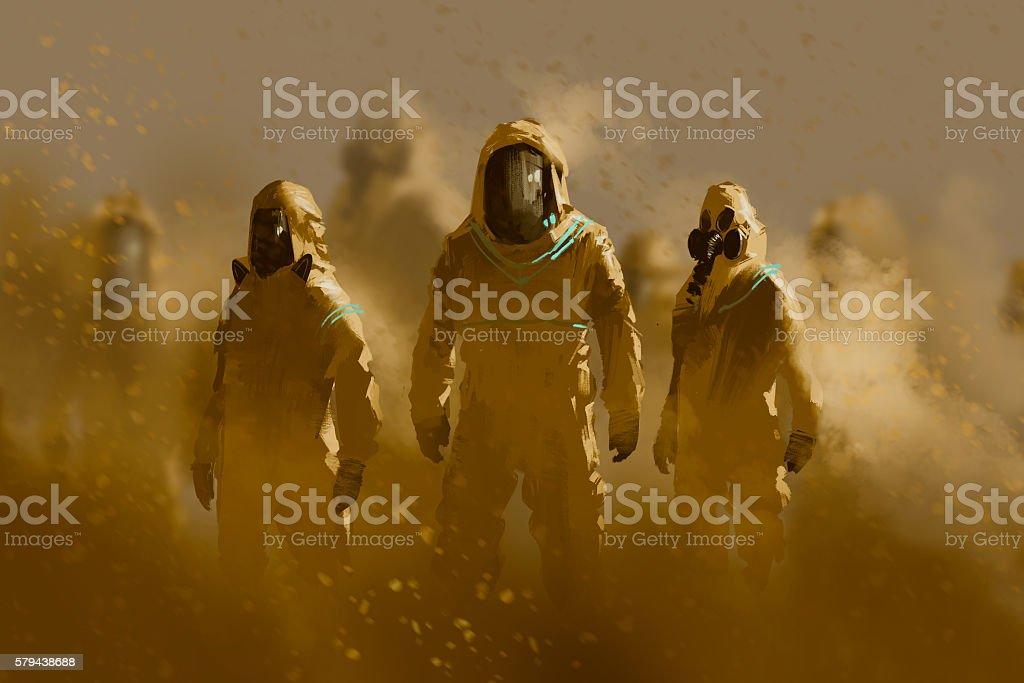 men in protective suit,outbreak concept - Ilustración de stock de Acrílico libre de derechos
