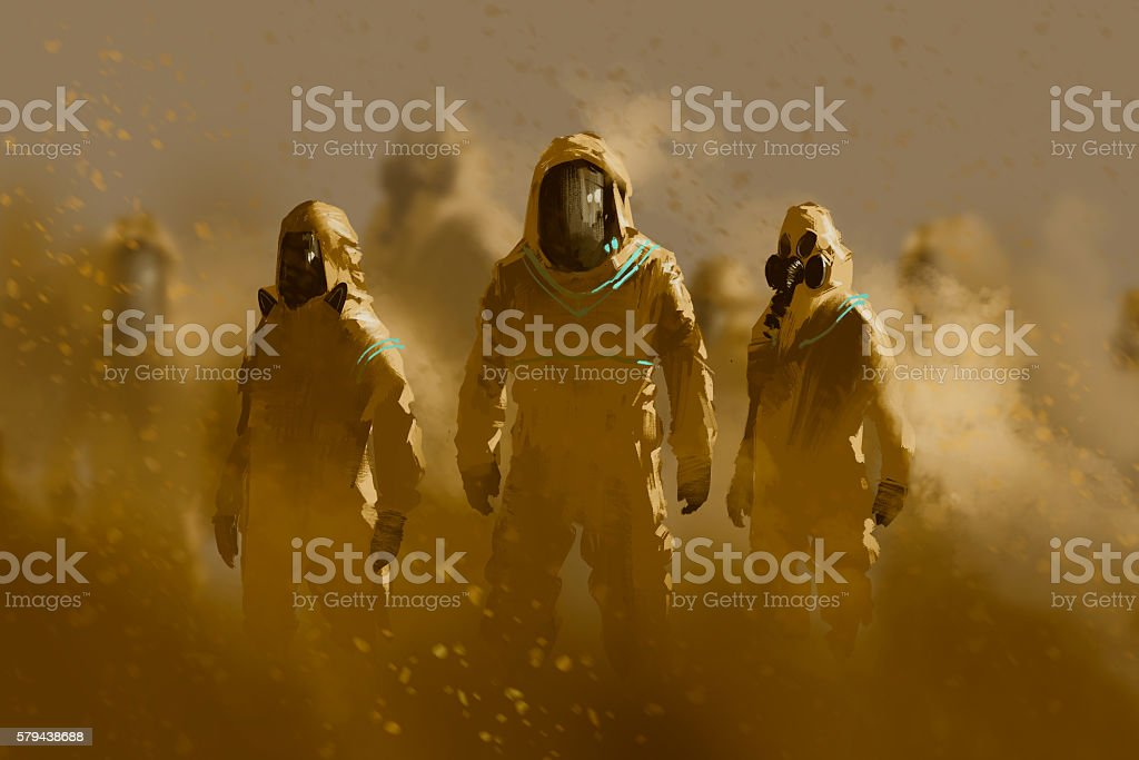 men in protective suit,outbreak concept vector art illustration