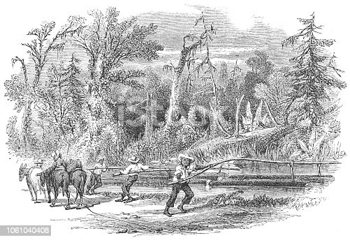 Men using wood sluices to divert water to their fields for irrigation in Virginia, United States of America (circa mid 19th century). Vintage etching circa mid 19th century.