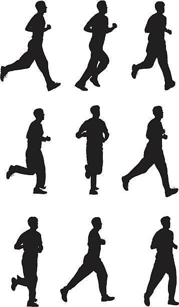 Men jogging Men jogging active lifestyle stock illustrations