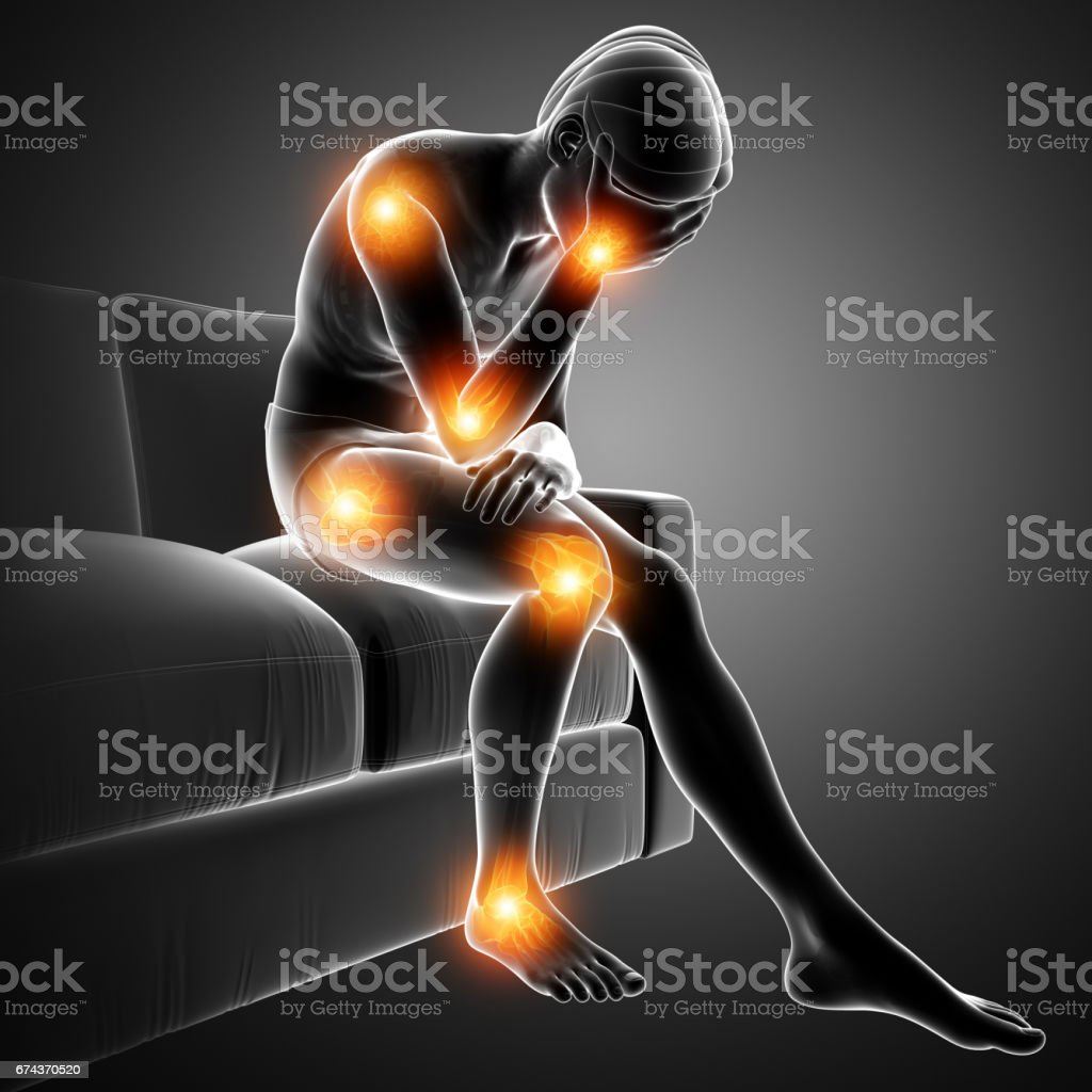 men joint pain vector art illustration