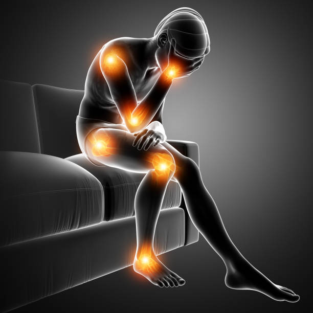 men joint pain vector art illustration