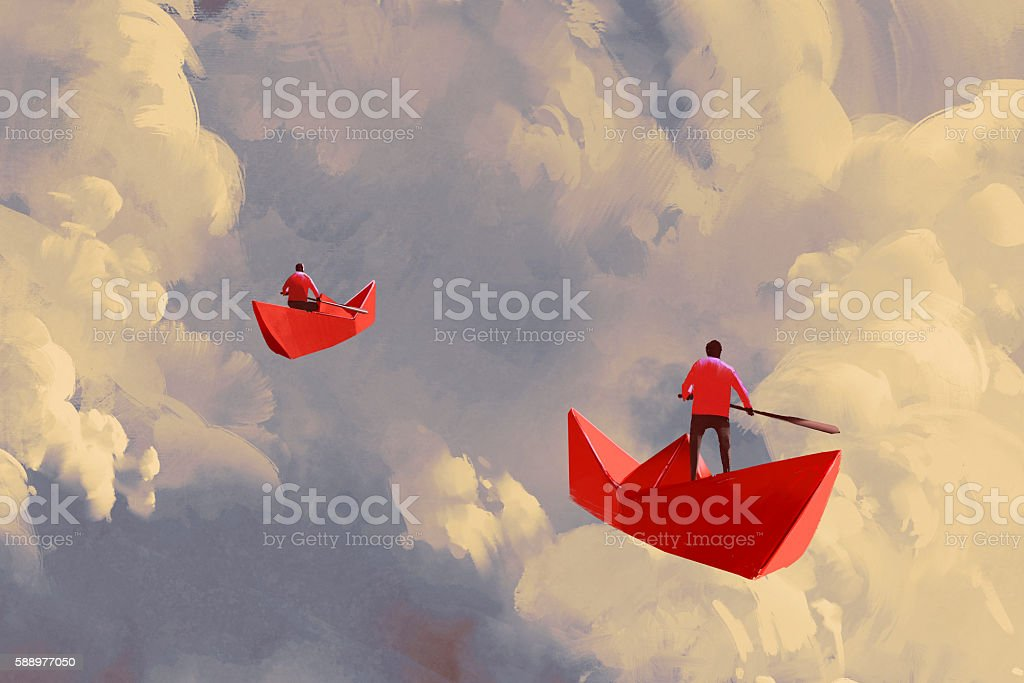 men on red paper boats floating in the cloudy sky vector art illustration