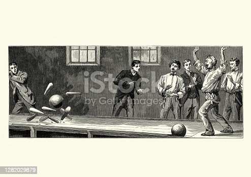 Vintage illustration of Men playing a game of Ten-pin bowling, Victorian, 19th Century