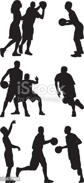 Men playing basketball street ball