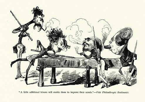 Men playing billiards and smoking cigars, Victorian