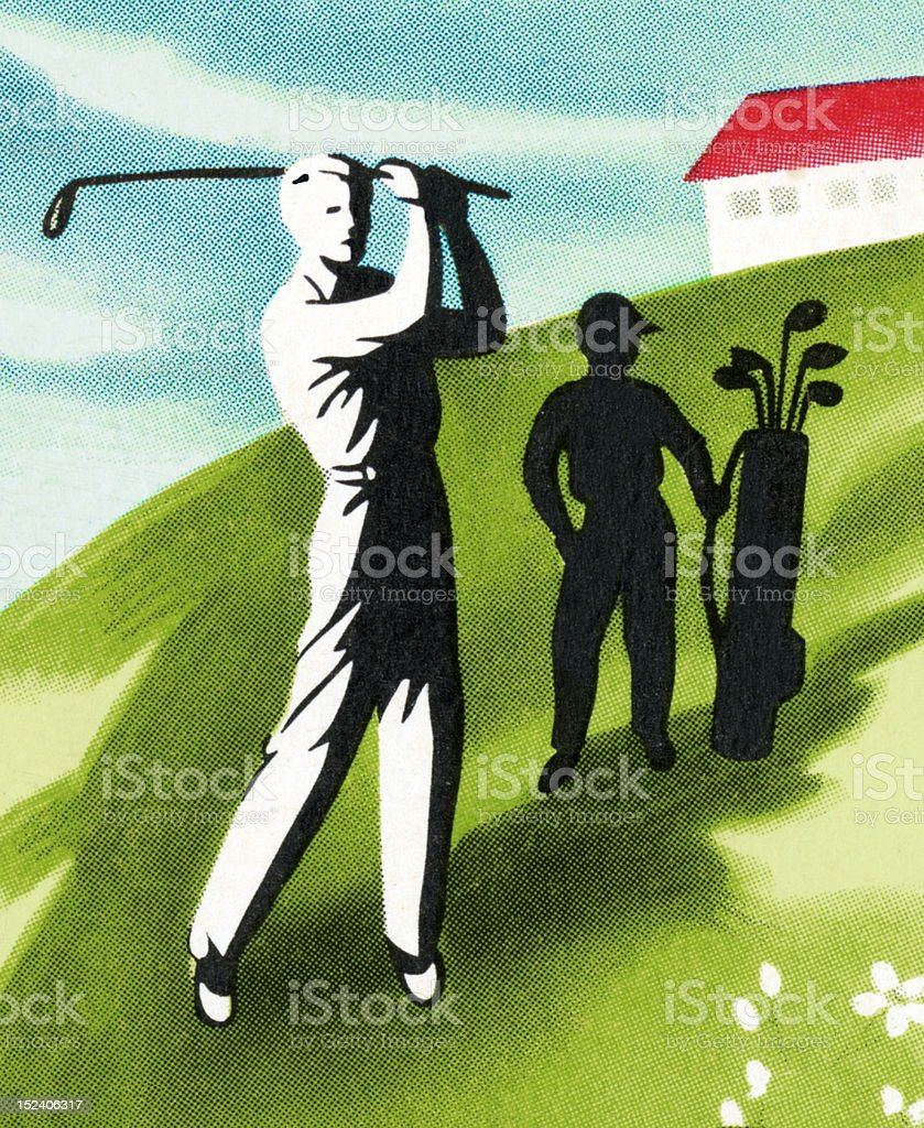Men Playing Golf royalty-free stock vector art