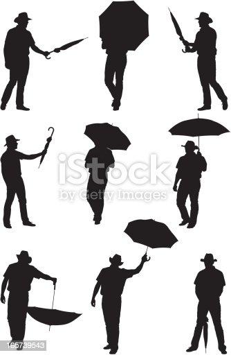 Men posing with umbrellas