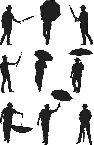 stockillustraties, clipart, cartoons en iconen met men posing with umbrellas - menselijke arm