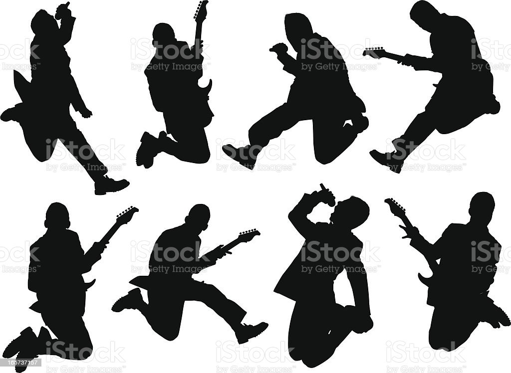 Men rocking out with cool guitar vector art illustration