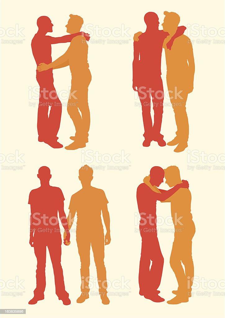 Hombres sillouettes - ilustración de arte vectorial