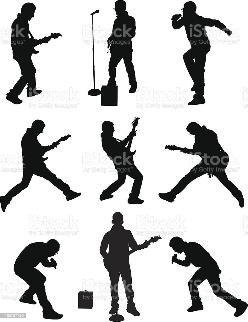 Men singing and playing guitar on stage royalty-free stock vector art