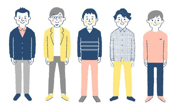 正面に向かって立っている5人の男性 - ビジネスマン 日本人点のイラスト素材/クリップアート素材/マンガ素材/アイコン素材