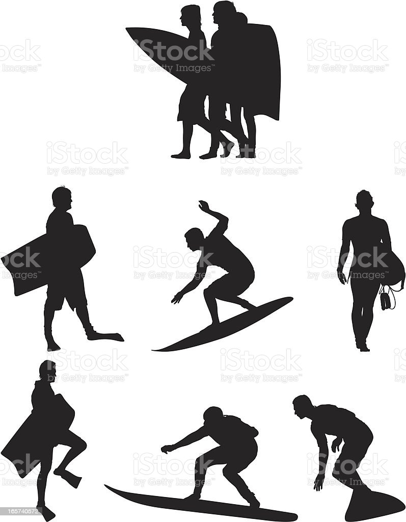 Men surfing and boogie boarding royalty-free men surfing and boogie boarding stock vector art & more images of activity