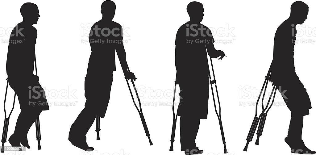 Men walking with crutches vector art illustration