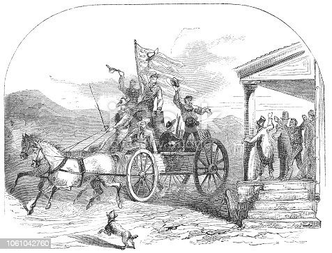 Group of men beginning journey out west, waving to the townspeople as they leave the Eastern United States of America (circa mid 19th century). Vintage etching circa mid 19th century.