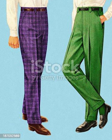 Men Wearing Purple and Green Pants