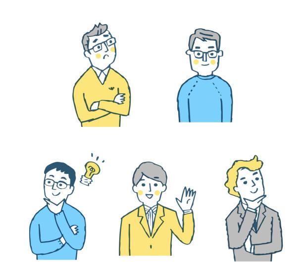 様々な表情を持つ5人の男性 - ビジネスマン 日本人点のイラスト素材/クリップアート素材/マンガ素材/アイコン素材