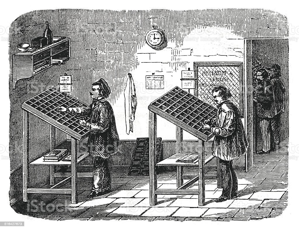 Men working at typecases (antique engraving) vector art illustration