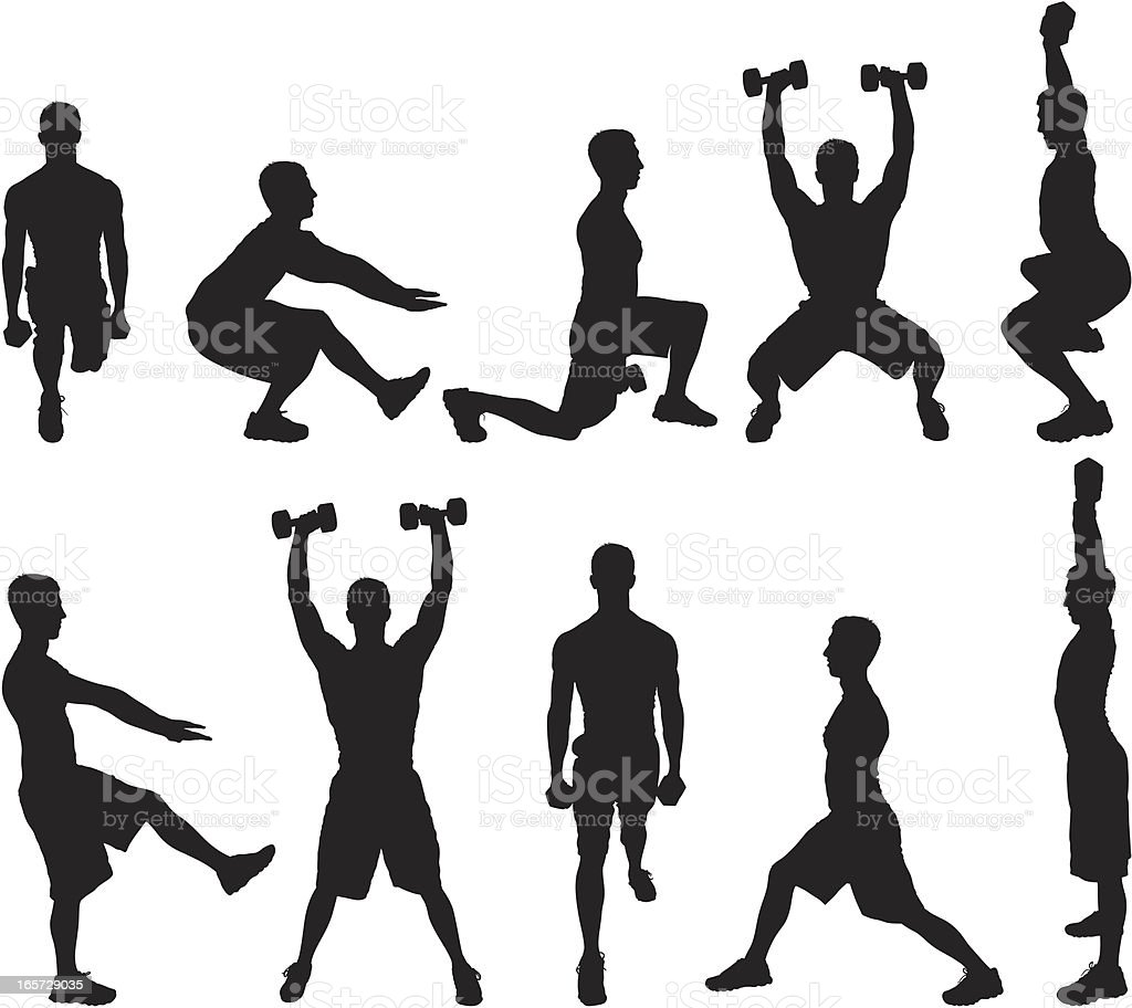 Men working out with dumbbells royalty-free men working out with dumbbells stock vector art & more images of adult