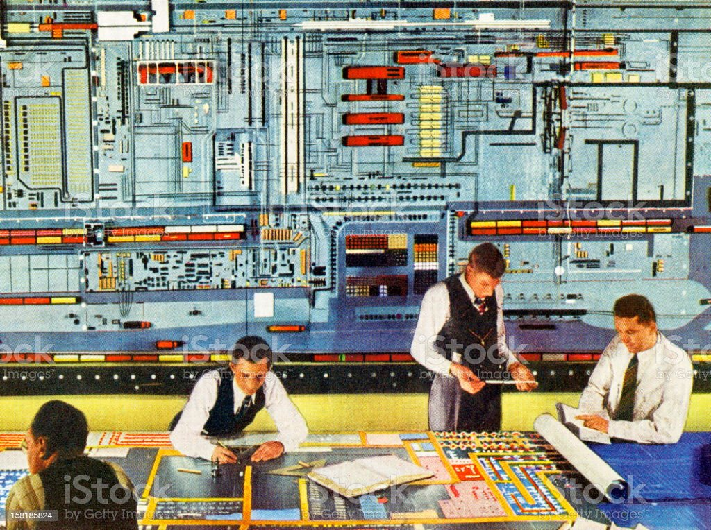 Men Working With Super Computer vector art illustration