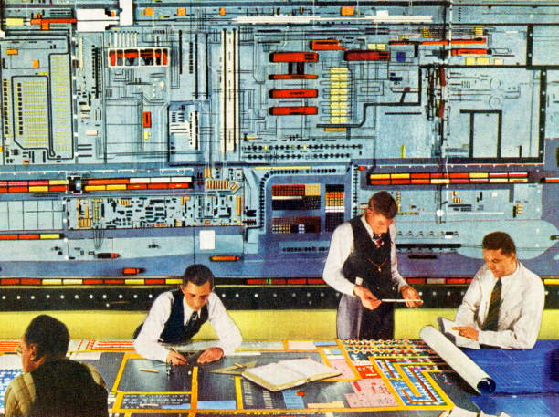 Men Working With Super Computer vector art illustration