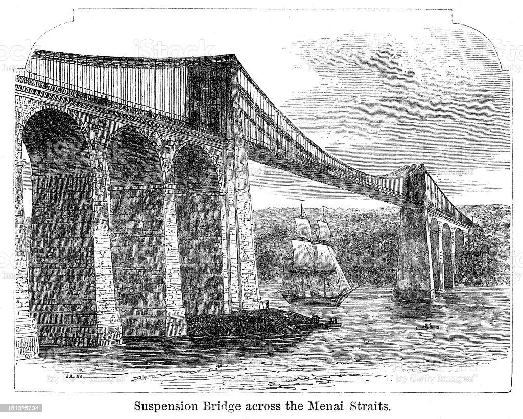 Menai Suspension Bridge vector art illustration
