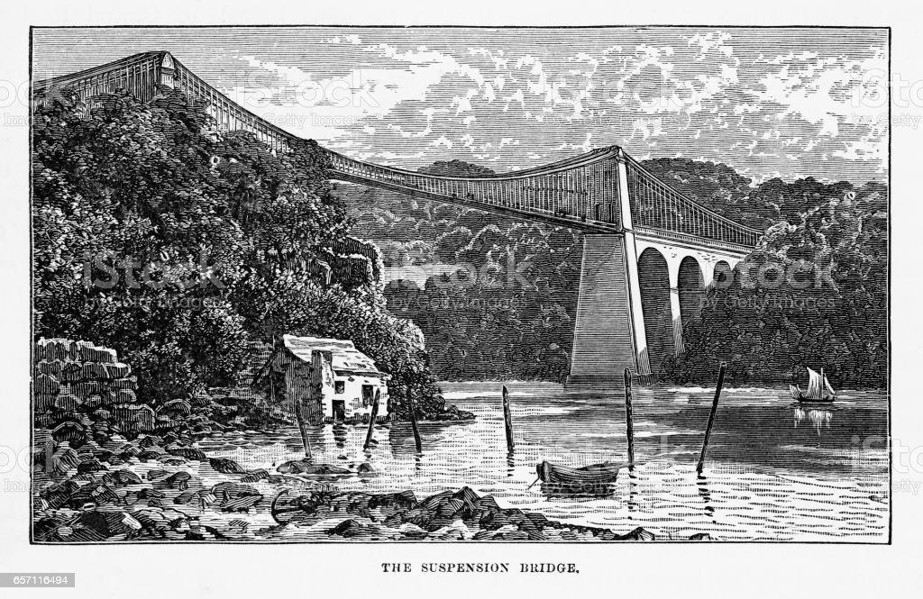 Menai Suspension Bridge in Anglesey, Wales Victorian Engraving, 1840 vector art illustration