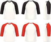 Vector illustration of 3/4 sleeve raglan t-shirt.