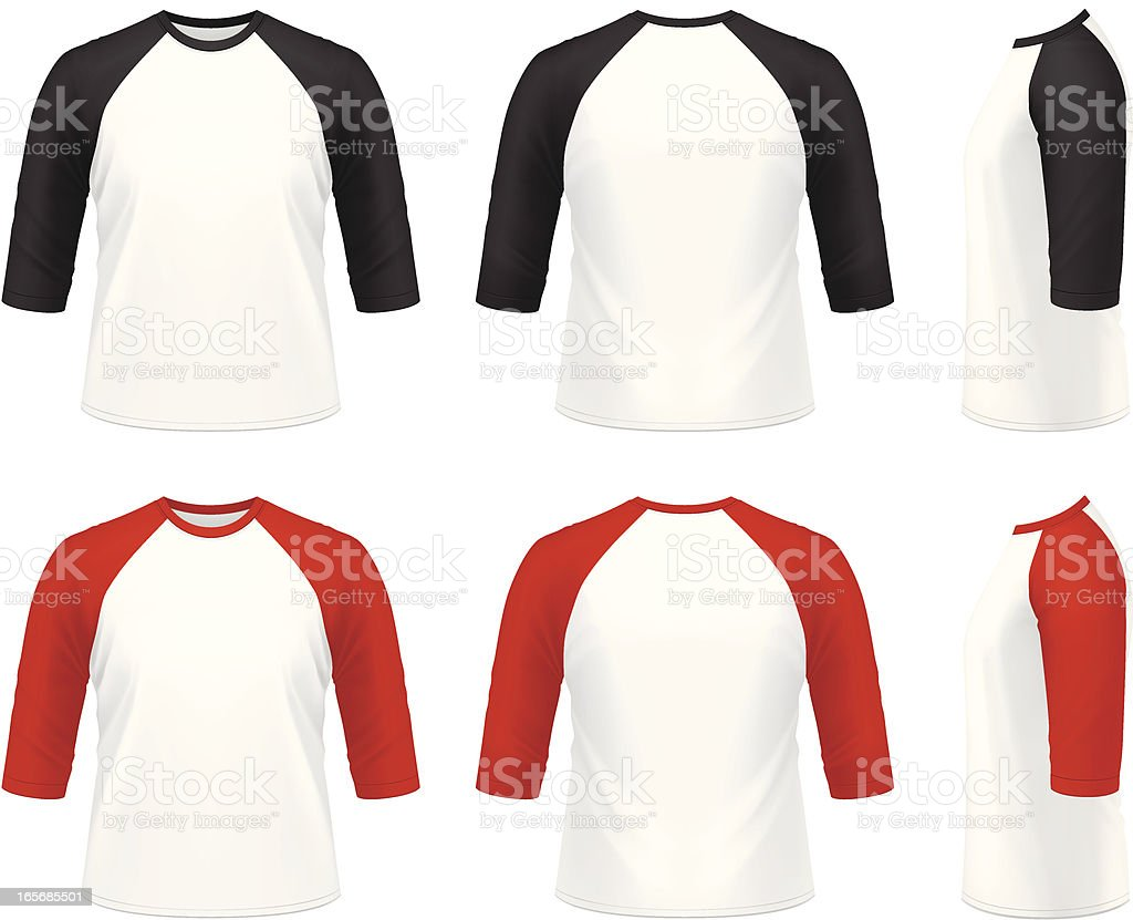 Men's 3/4 sleeve raglan t-shirt vector art illustration