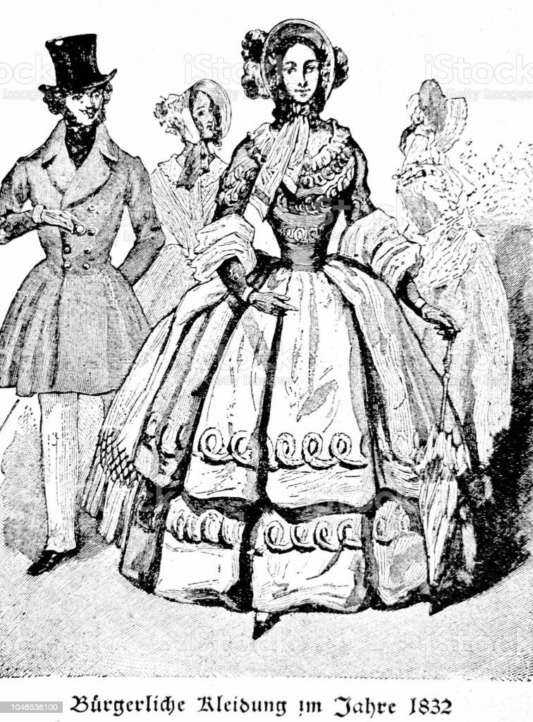 52ab35c01d235 Herren- und Damenmode, 1832 - zivile Kleidung Lizenzfreies herren und  damenmode 1832 zivile kleidung