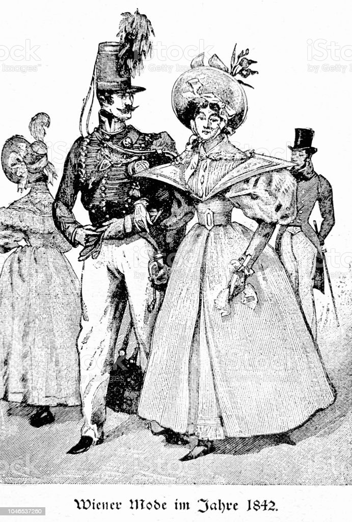 1577aa50a92ba Herren- und Damenmode, Wien 1842 Lizenzfreies herren und damenmode wien  1842 stock vektor art