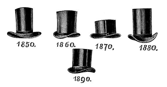 Men's fashion: top hats second half 19th century