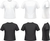 Vector illustration of men's T-shirt with pocket.