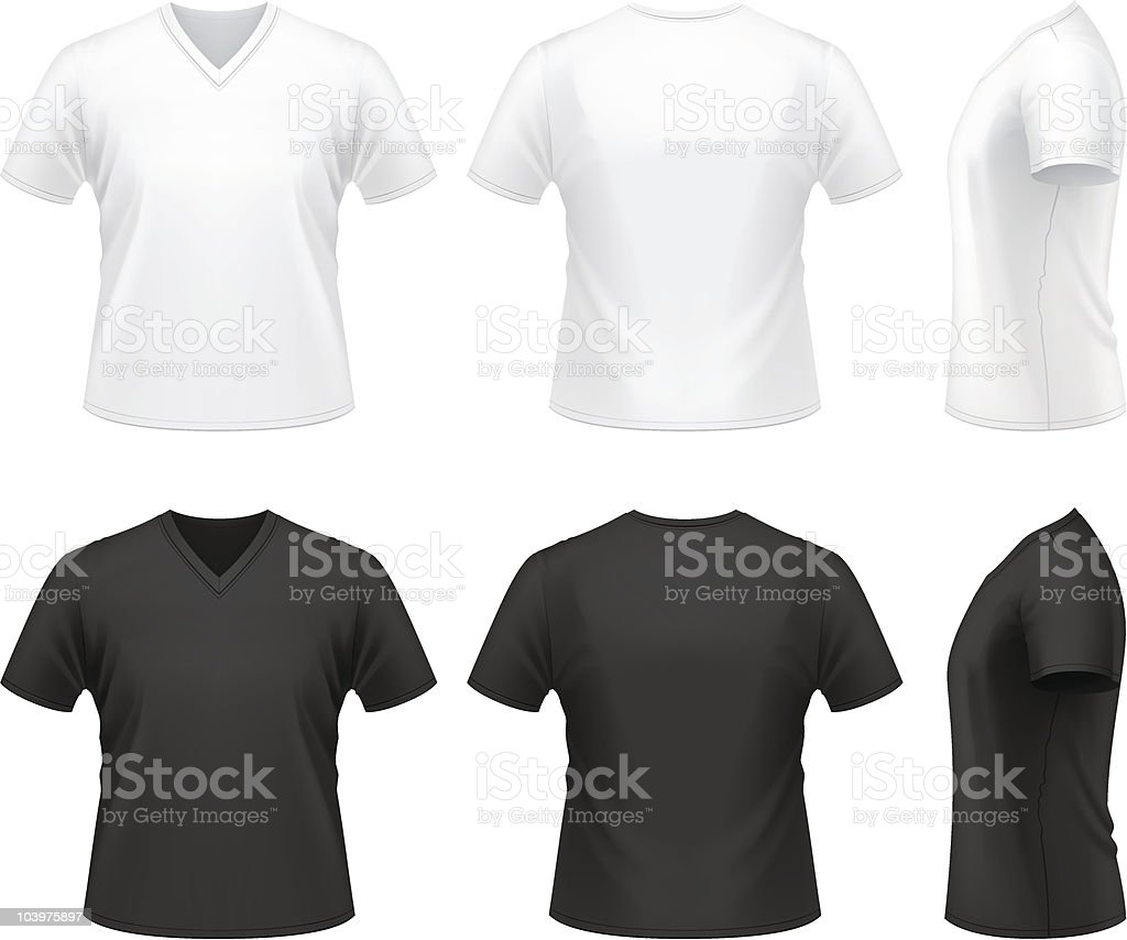 Men's V-neck t-shirt vector art illustration