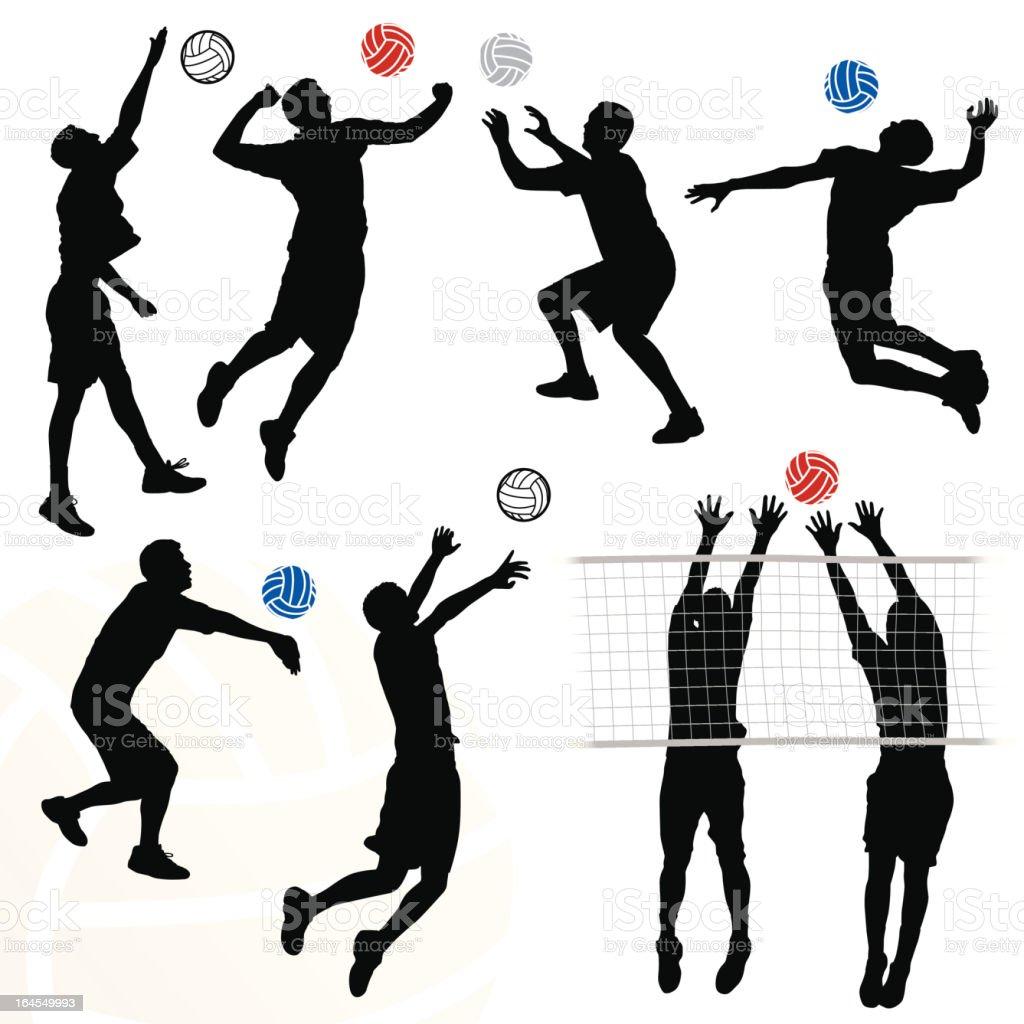 Men's Volleyball vector art illustration