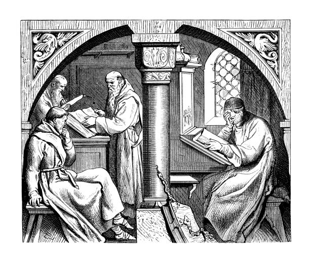 Mental work in a medieval monastery Illustration of Mental work in a medieval monastery, friar stock illustrations