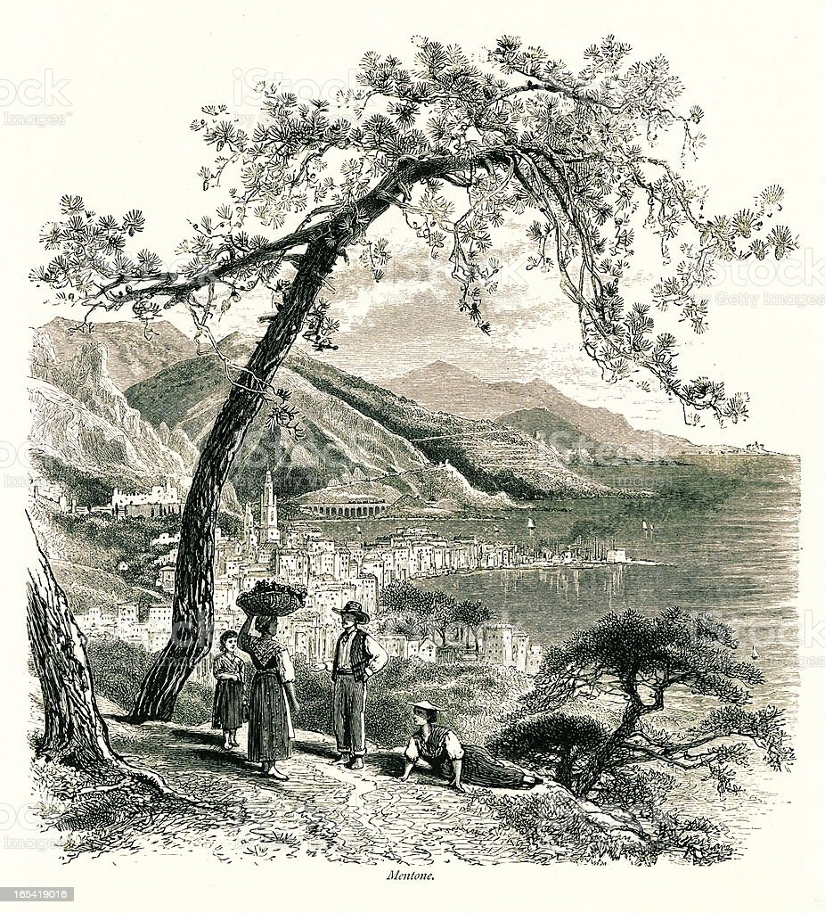 Menton, France I Antique European Illustrations royalty-free menton france i antique european illustrations stock vector art & more images of 19th century