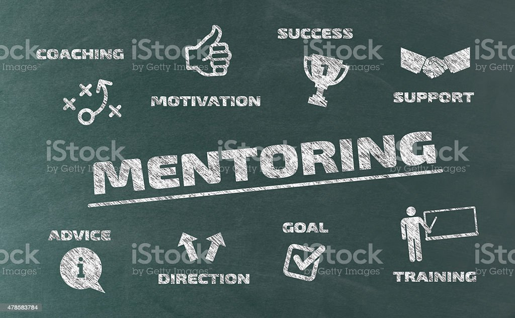Mentoring Concept with Icons on Blackboard vector art illustration