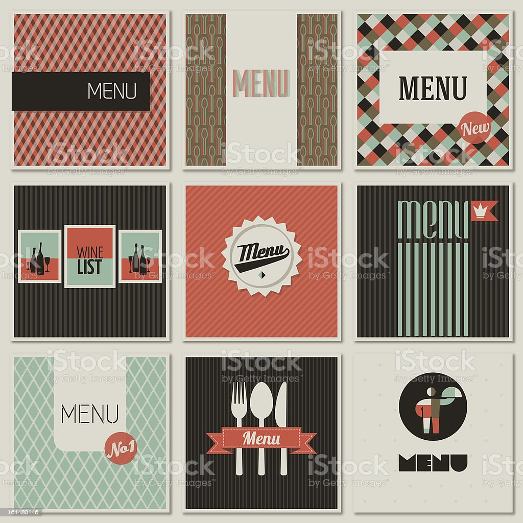 Menu label on a seamless background. Set of retro-styled illustrations. royalty-free stock vector art