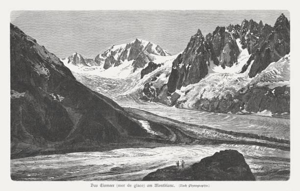 illustrazioni stock, clip art, cartoni animati e icone di tendenza di mer de glace, mont blanc massif, french alps, published 1897 - monte bianco