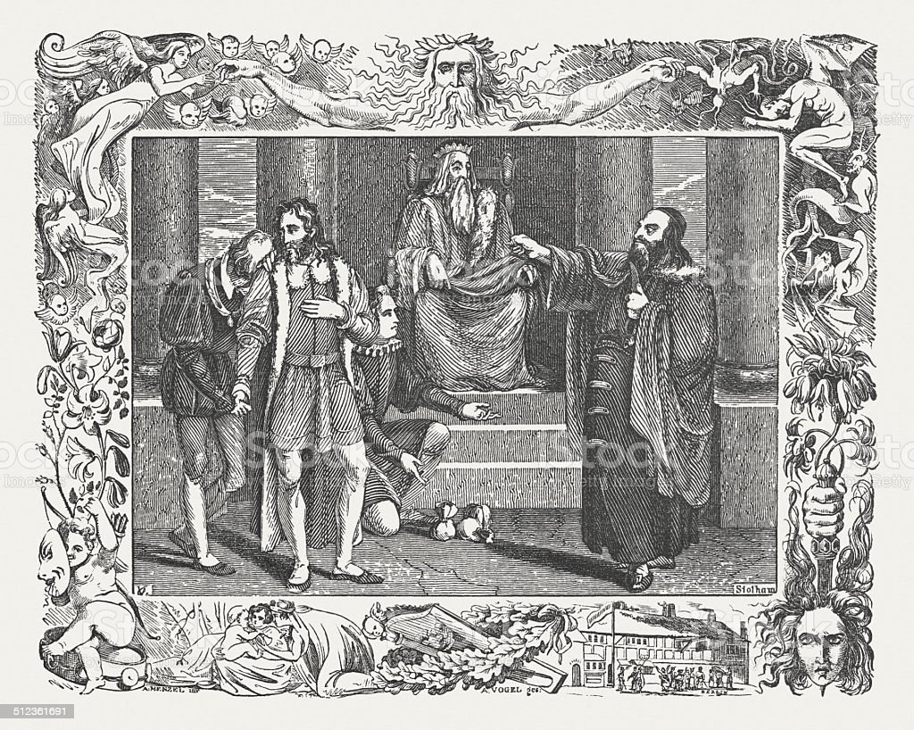 Merchant of Venice by William Shakespeare, wood engraving, published 1838 vector art illustration