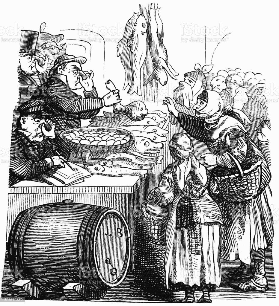 Comerciantes vendem comida segurando seus narizes. Cena com humor-1867 - ilustração de arte em vetor
