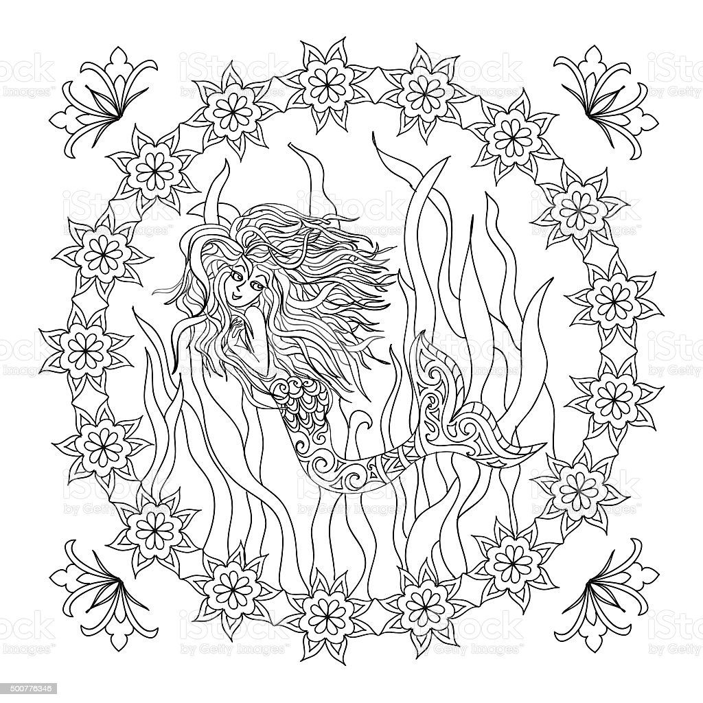 mermaid coloring page stock vector art 500776346 istock