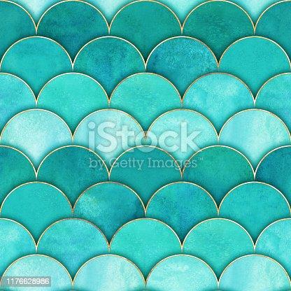 istock Mermaid fish scale wave japanese seamless pattern 1176628986