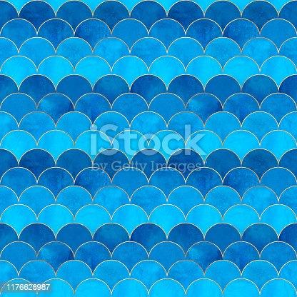 istock Mermaid fish scale wave japanese seamless pattern 1176628987