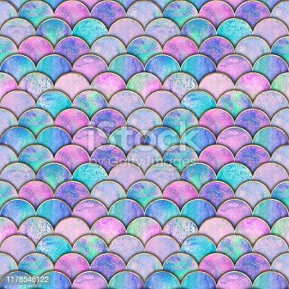 istock Mermaid fish scale wave japanese seamless pattern 1178545122