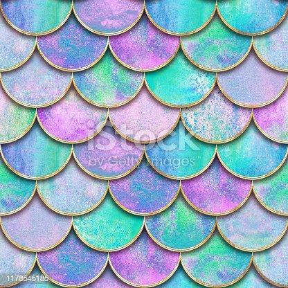 istock Mermaid fish scale wave japanese seamless pattern 1178545185